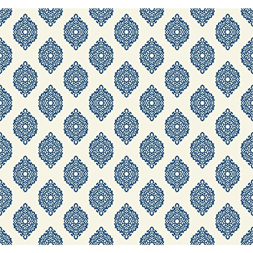 Blue Garden Wallpaper - York Wallcoverings WP2479 Waverly Small Prints Garden Gate Wallpaper, Marine Blue/White