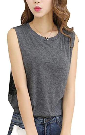 c8b63e95961b7e YLnini Womens Sexy Open Side Sleeveless Loose Sport Tank Top Dark Grey XS  at Amazon Women s Clothing store