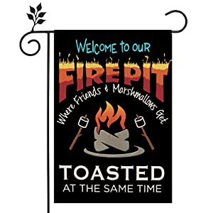 CROWNED BEAUTY Welcome To Our Fire Pit Toasted Garden Flag 12×18 Inch Double Sided Vertical Yard Outdoor Party Decoration CF189-12