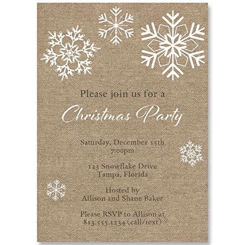 Burlap, Christmas Party Invitations, Holiday Celebration, Snowflake, White, Kraft, 10 Custom Printed Invites with Envelopes,, Rustic, Country