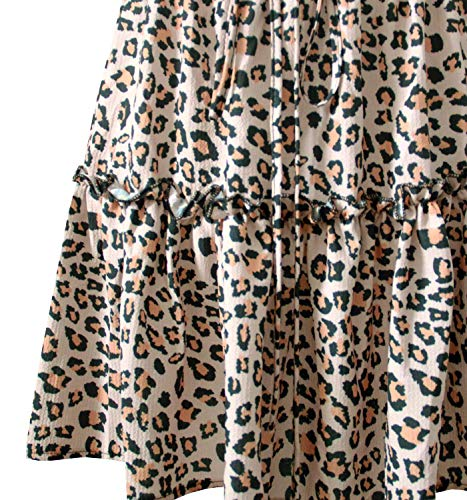 Arjungo Women's Floral High Waist Drawstring Ruffle Flared Boho A-Line Pleated Skater Mini Skirt