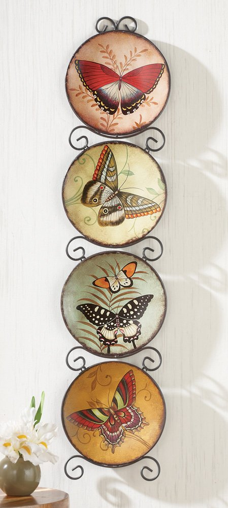 amazoncom knlstore set of 4 decorative hand painted butterfly plates u0026 metal scroll hanging display rack hooks scrollwork wall decor home accent spring - Decorative Wall Plates