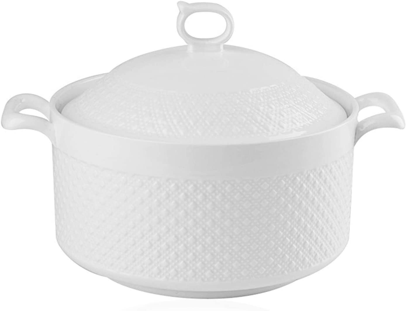 Double Handle Lid Pure White Ceramic BAKOUSTAR Tureen Soup BAKOUSTAR Ceramic Round White Dish Casserole/Clay Pot/Earthen Pot/Ceramic Cookware With White Lid Heat-Resistant For Gift Box (9In)