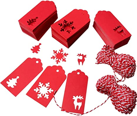 Aneco 150 Pieces Paper Tags Kraft Christmas Tags Hang Labels Christmas Tree Snowflake Reindeer Design for Christmas Gift Favor,DIY Arts and Crafts Wedding Supply with 30 Meters Twine