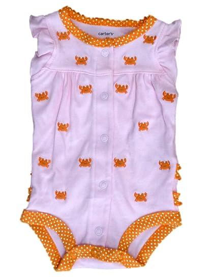 8034132bf044 Amazon.com  Carter s Infant Girls Pink   Orange Crab Creeper Romper ...