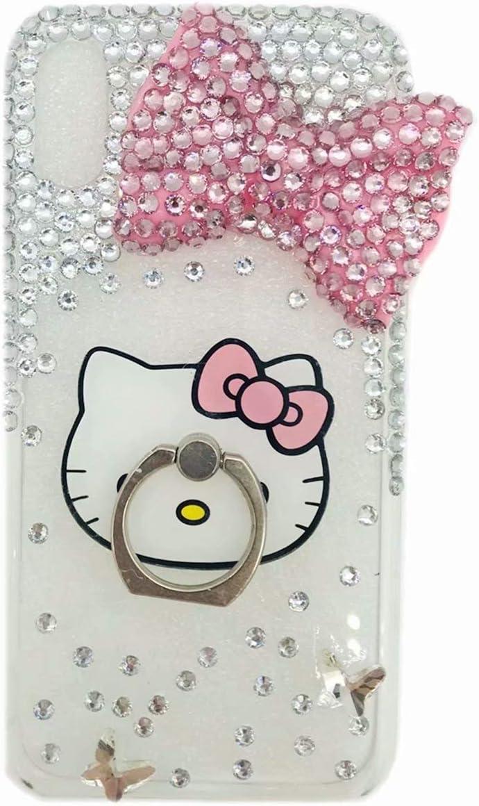 DVR 4000 LG G Stylo/LG G4 Stylus/LG LS770 3D Handmad Pink Bow Bling Glitter Diamond Shining Gemstone Phone Case with Flower Lanyard