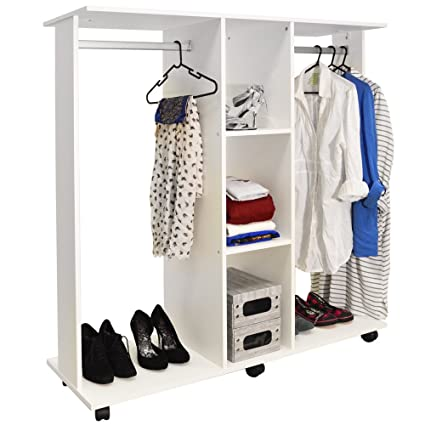 Home Storage Solutions Rolling Double Open Wardrobe With Rails Modern Black Wooden Clothes Organiser Home, Furniture & DIY