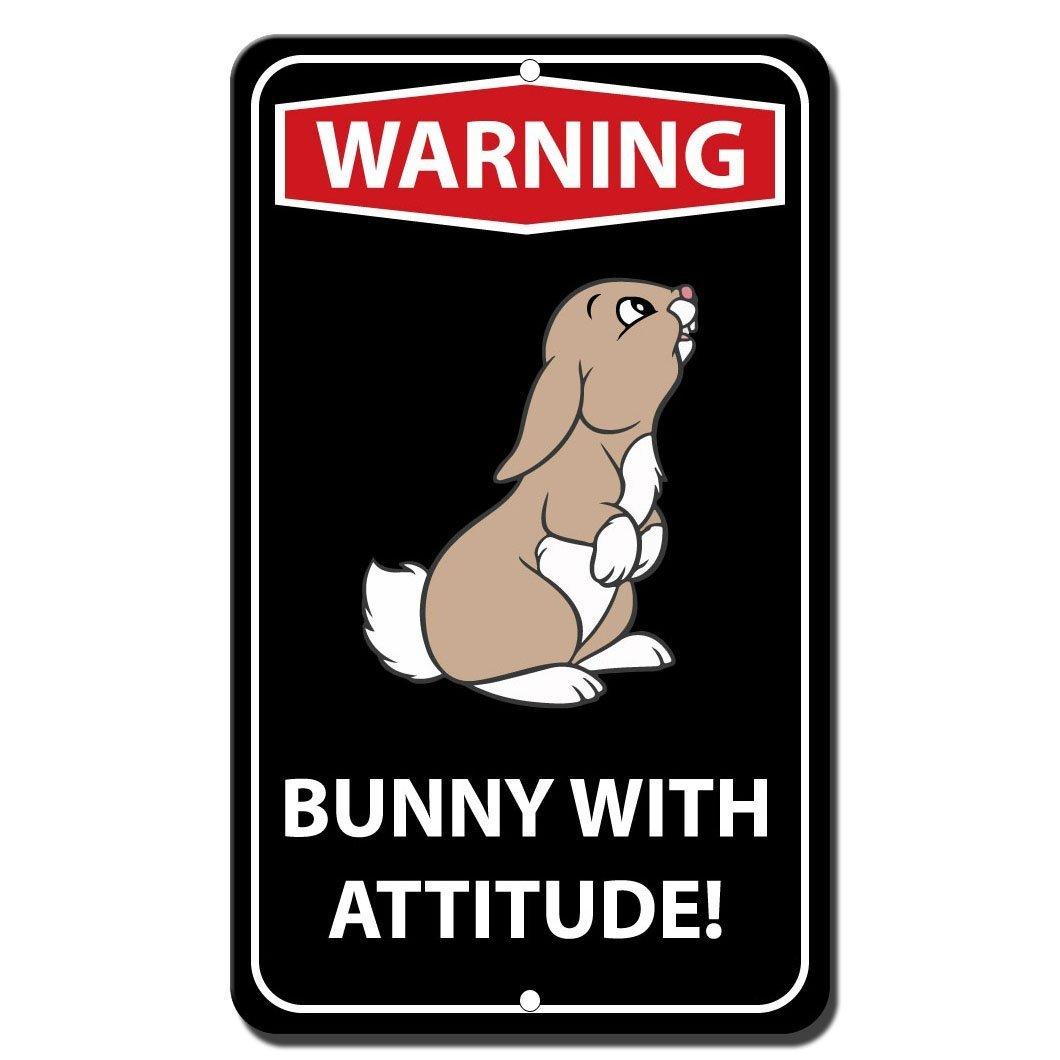 警告Bunny with Attitudeノベルティ面白いメタルサイン8 in x 12 in B071YBXRKV