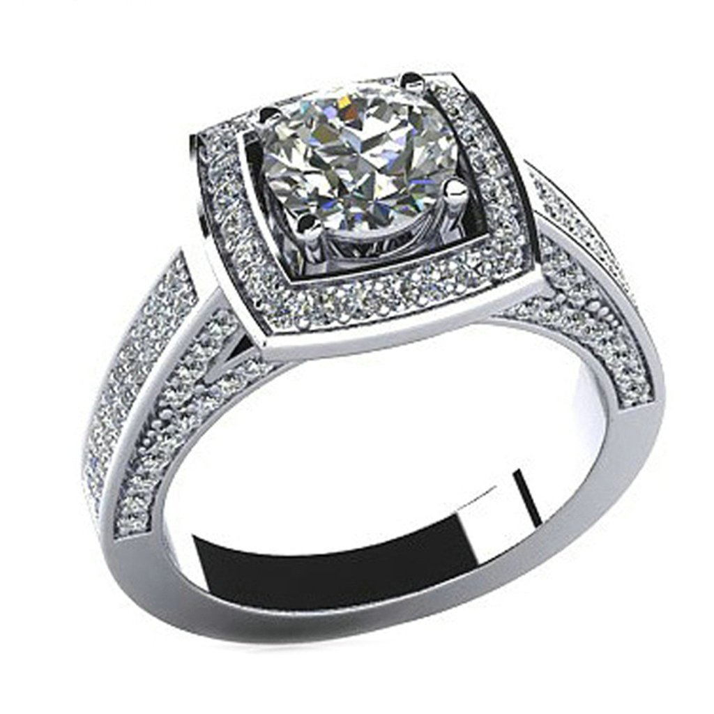 925 Sterling Silver Women Engagement Ring and Wedding Band Cubic Zirconia Square Size 6