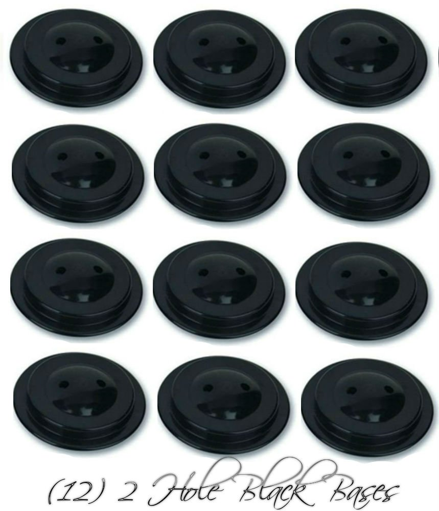 Wholesale Lot 12 Two Hole Black Bases For 4''x6'' Stick Desk Flags