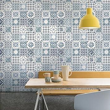 Grandeco Porto Blumen Muster Tapete Barock Motiv Küche Badezimmer   Blau  A22903