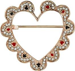 81fd5be3f2c Mamfous Rose Gold Color Enamel Heart Brooch for Women Rhinestone Pins  Jewelry