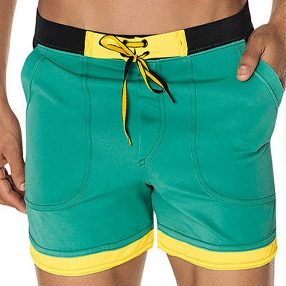 Rusinll-Placte Men's Swimwear Beach Board Shorts Swim Trunks Men Swimming  Boxer Surf Wear Green XL | Amazon.com