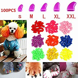 100Pcs Soft Pet Dog Nail Caps Claws Control Paws Of 5 Kinds Different Colors + 5Pcs Adhesive Glue + 5pcs Applicator with Instructions (XXL)