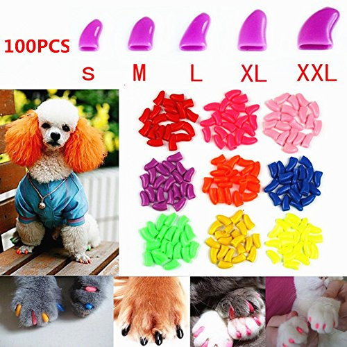 Brostown 100Pcs Soft Pet Dog Nail Caps Claws Control Paws Of 5 Kinds Different Colors + 5Pcs Adhesive Glue + 5pcs Applicator with Instructions ()
