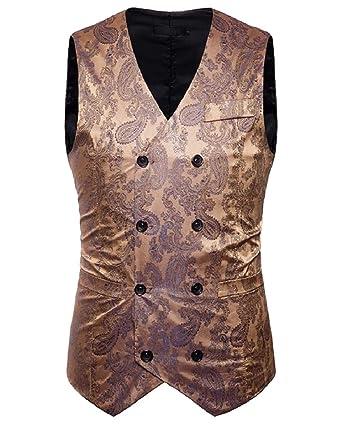 Andopa Breasted doble cuello en V de impresión flaca de chalecos ...