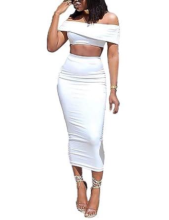 483e8de6d VintageRose Women Off Shoulder Crop Top Skirt Set 2 Piece Dress White S