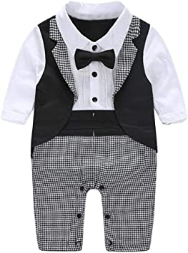 AFFEco - Traje de esmoquin para bebé, corbata para fiesta negro ...