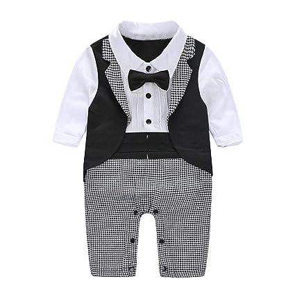 809c3470fd0 Crazy-Store Baby Gentleman Suit Necktie Newborn Boys Party Tuxedo Rompers  (Black 0-