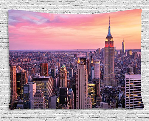 Empire Hanging - Ambesonne New York Tapestry Wall Hanging, New York City Midtown with Empire State Building at Sunset Business Center Rooftop Photo, Bedroom Living Room Dorm Decor, 80 W X 60 L Inches, Peach