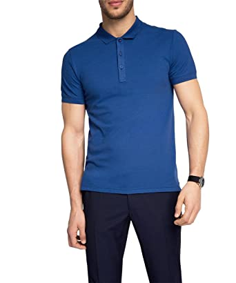 ESPRIT Collection Men s mit Stretch - Polo Shirt - Blue (Bright Blue 410), 382f4b482f5e