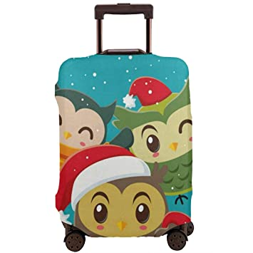 Owl Pattern Print Luggage Cover Travel Suitcase Protector Fits 18-21 Inch Luggage