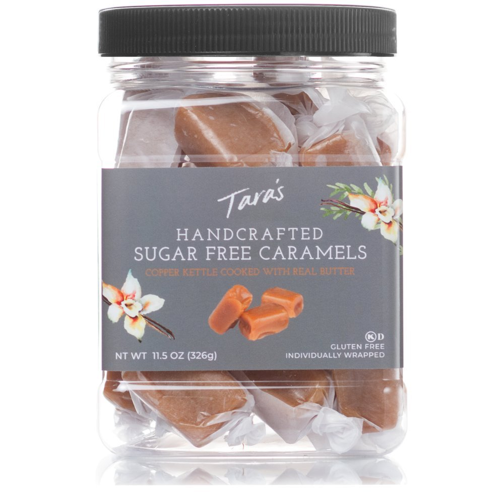 Tara's All Natural Handcrafted Gourmet Caramel: Small Batch, Kettle Cooked, Creamy & Individually Wrapped - Sugar Free, 11.5 Oz