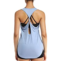 JUYEE Yoga Tops for Women Activewear Workout Tank Tops Athletic Women's Sleeveless Tops Open Back Running Sports Shirts