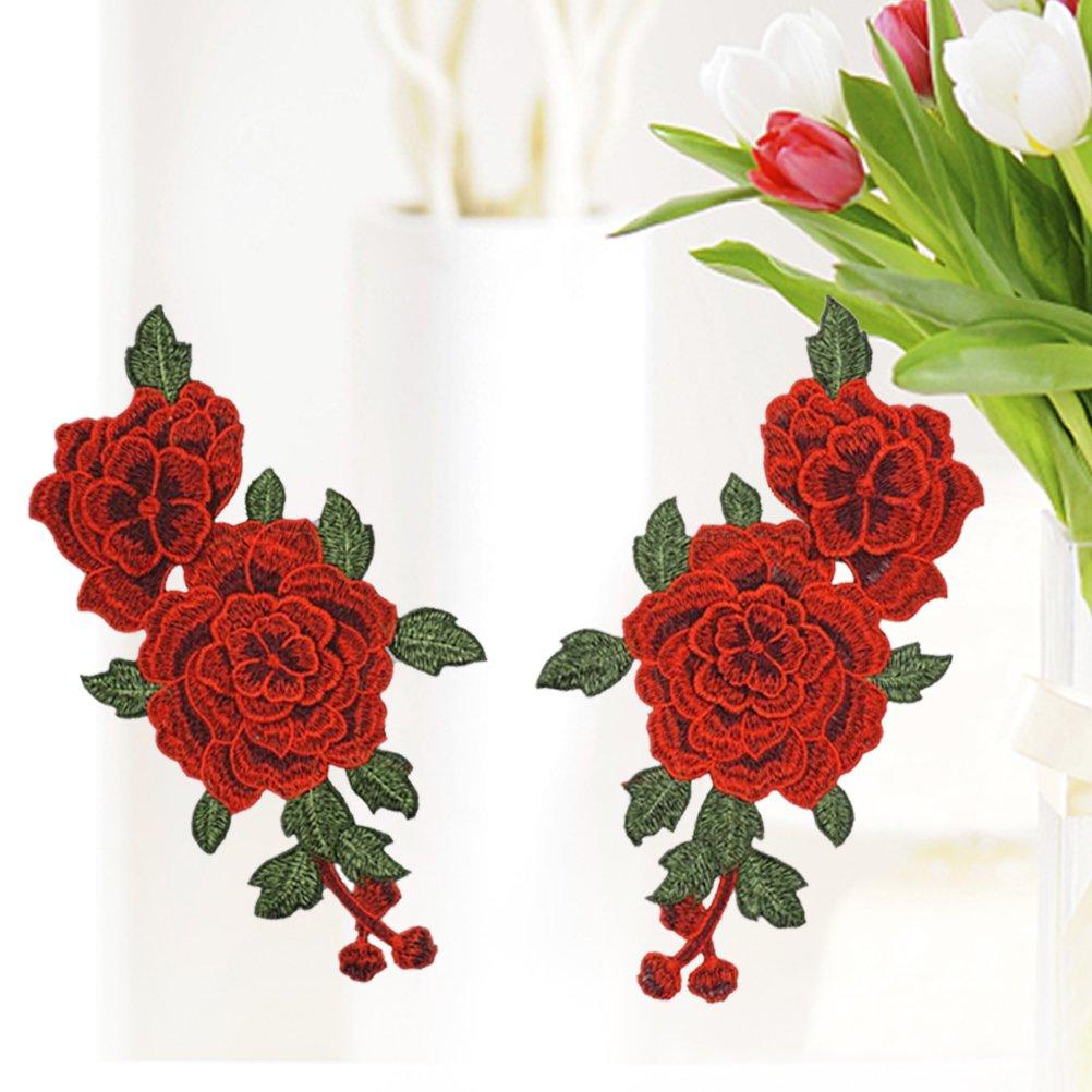 WINOMO Toppe a forma di fiori rosa per abbigliamento 2PCS