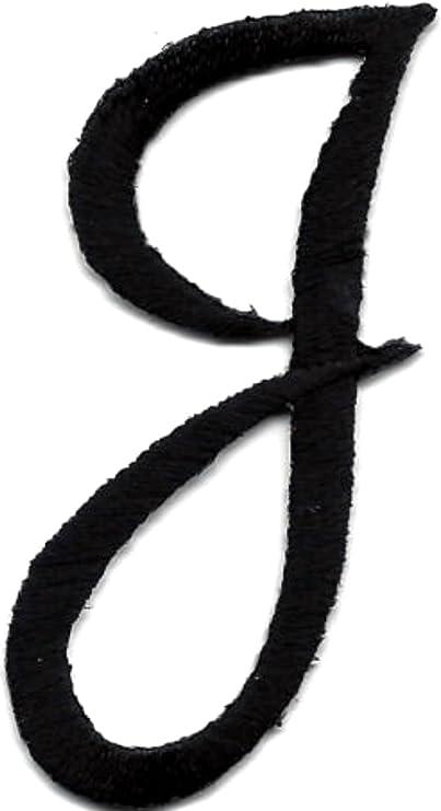 "Black Script Letter /""J/"" SCRIPT LETTERS Iron On Embroidered Applique"