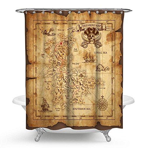 treasure map shower curtain - 6
