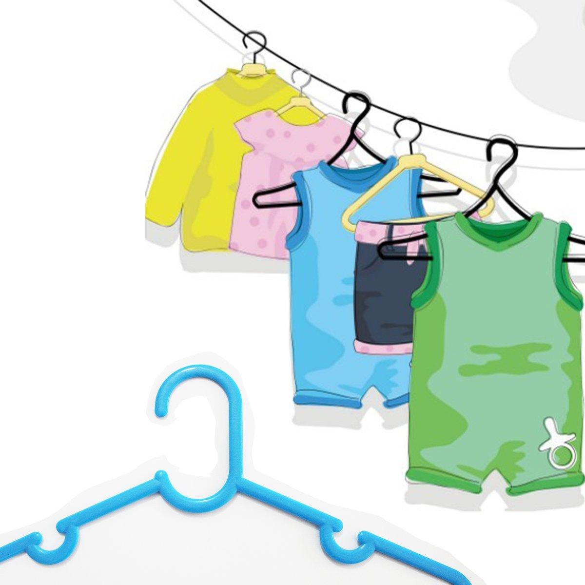 Juego de ropa de beb/é plegada con juego de colgadores de color azul y de color con juego de colgadores de el boli viene con un juego de ganchos para 10 brillantes de