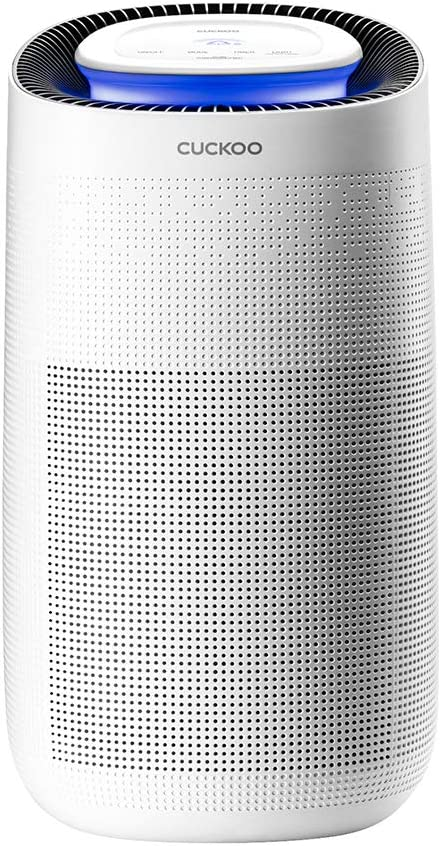 Cuckoo CAC-J1510FW Purifier with 3-in-1 Filtration: Pre-Filter, True HEPA+ (H13), Active Carbon 3 Colored LED Air Quality Indicator, Eliminates Allergens, Smoke, Dust, Mold, Odor, and Dander, White