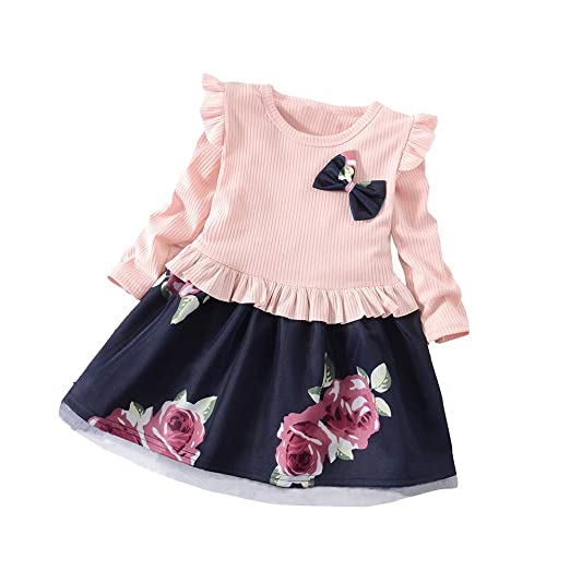 Kamendita Baby Girls Dress Toddler Baby Girls Long Sleeve Floral Flower Print Dress Outfits Clothes Jumpsuit