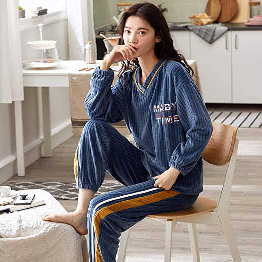Bayrick Pijama Mujer Algodon Invierno,Pijama de Mujer Otoño ...