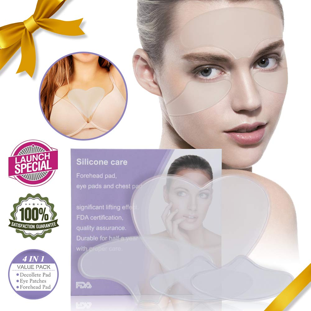 (4 pads)Anti Wrinkle Chest Pad Silicone Decollete Reusable Adhesive Pad With 1+Chest Pad, 2+Around Eye Patches, 1+Forehead Serfory For Women Sun Damage Wrinkle Repair 100% Medical Grade Overnight