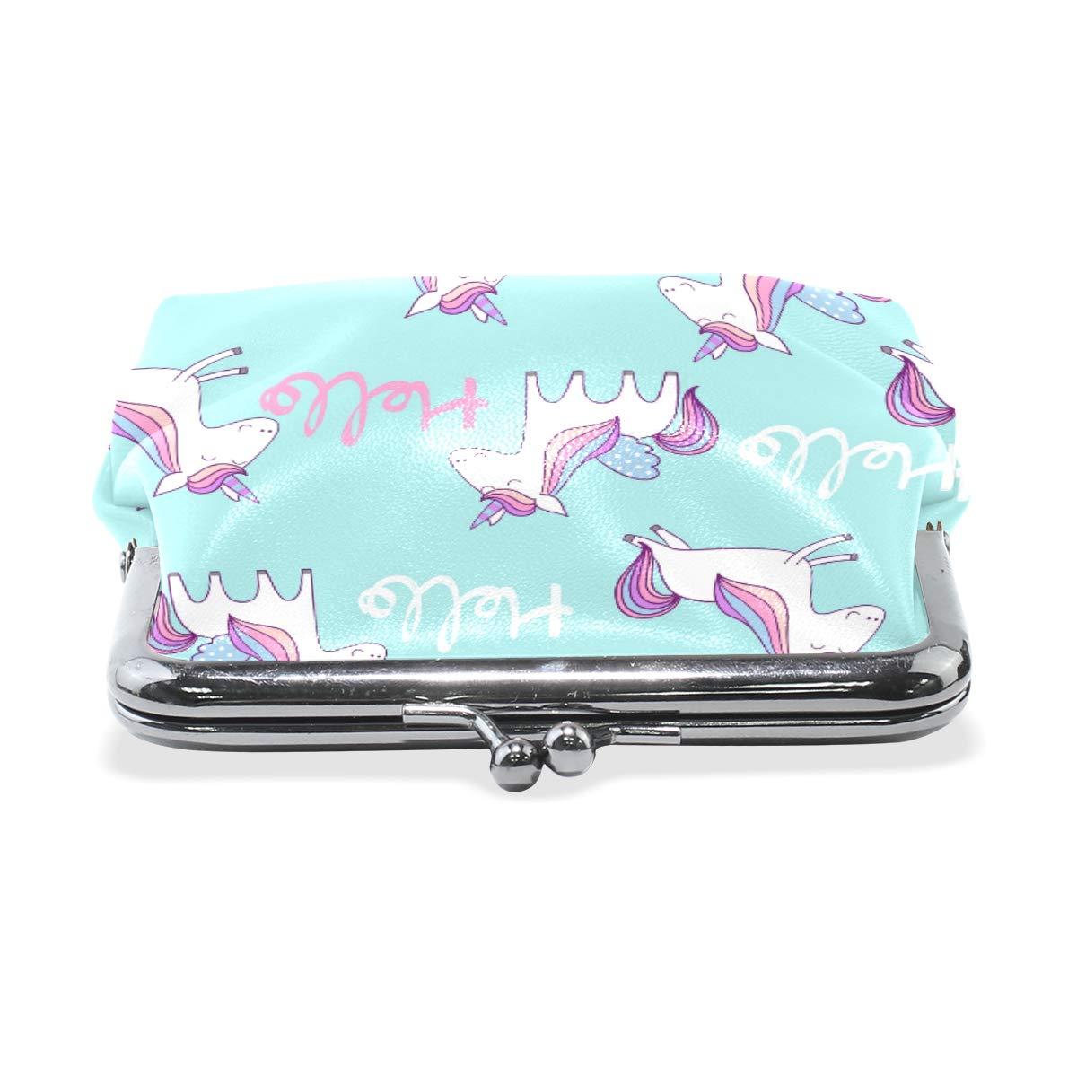 Fashion Womens Coin Purse Magic Cute Hello Unicorn Vintage Pouch Mini Purse Wallets