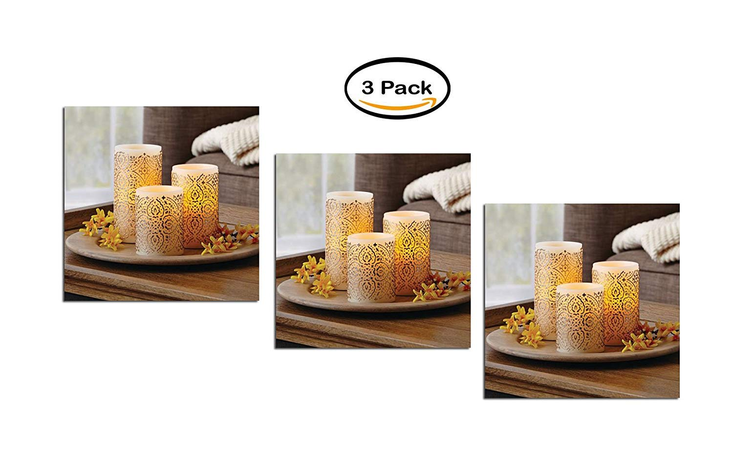 PACK OF 3 - Better Homes & Gardens LED Flameless Pillar Set, Malaysian Motif by Better Homes & Gardens