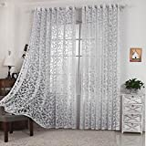 R.LANG Solid Grommet Top Modern Leaf Jacquard Sheer Window Curtain 1 Pair Bleach White 46″W X 54″ L For Sale