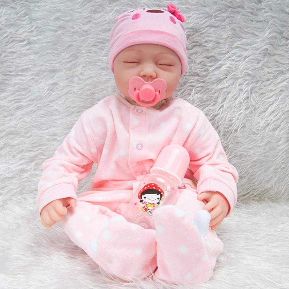 iShinè_Toy 55 cm Belle Reborn Simulation bebé muñeca réaliste Miembros de Silicona Juguetes Cuerpo de Tejido muñeca Reborn accompagnant niño educación précoce Regalo de cumpleaños Rosa