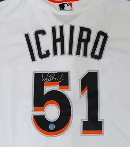 1babdacd4 Miami Marlins Ichiro Suzuki Autographed White Majestic Cool Base Jersey  Size L IS Holo