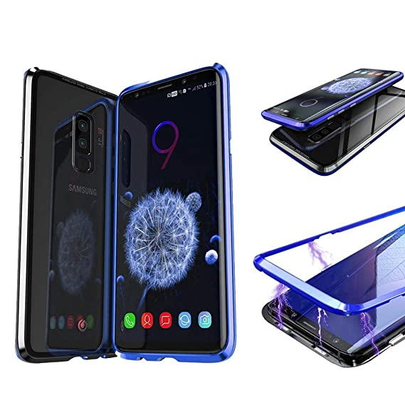 premium selection ca5a3 90d39 Magnetic Adsorption Case For Samsung Galaxy S9+ Plus - Tempered Glass Back  [Metal Frames] Slim Fit Ultra-Thin Case Lightweight, Luxury Magnet Case ...
