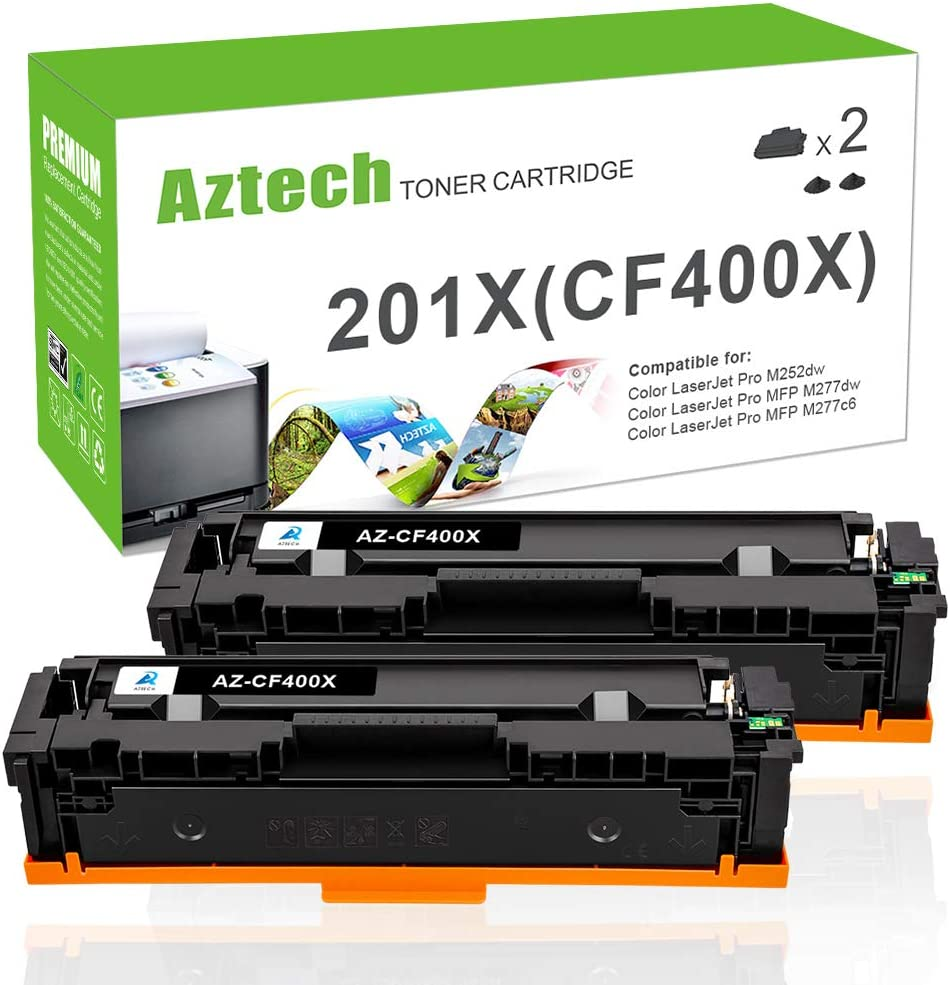 Aztech Compatible Toner Cartridge Replacement for HP 201A CF400A 201X CF400X (Black, 2-Pack)