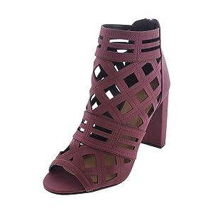Delicious - Women's Open Toe Chunky Heel Bootie - Burgundy