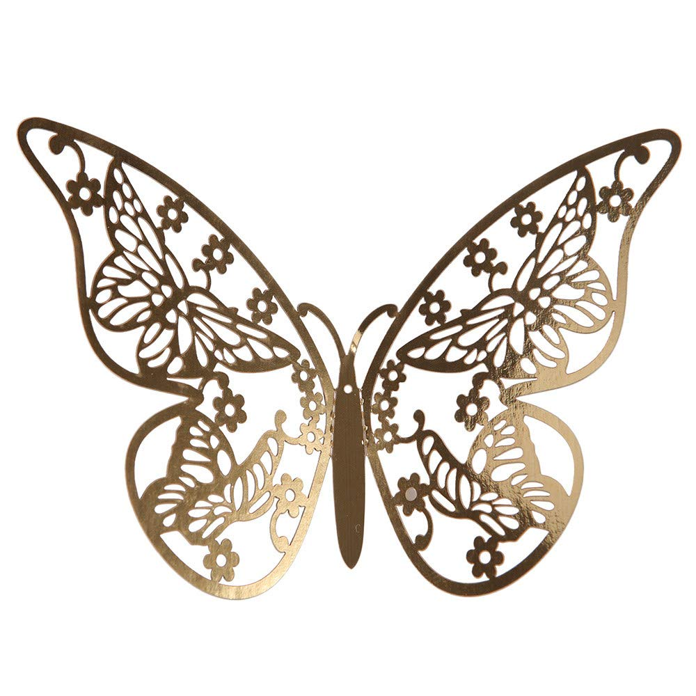 Cyhulu Butterfly Gold Sliver Color Wall Decals(Pack of 12Pcs), Beautiful Bright Real Looking Butterfly Stickers Ornaments for Living Room Bedroom Party Weeding Home DIY Art Decor (A, One size)