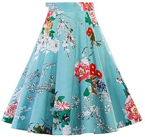 HEHEAB Falda,Las Mujeres Azul Plisada Midi Faldas Vintage 50S 60S ...