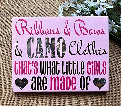 rfy9u7 Ribbons Bows CAMO Clothes, Wood Nursery Sign,