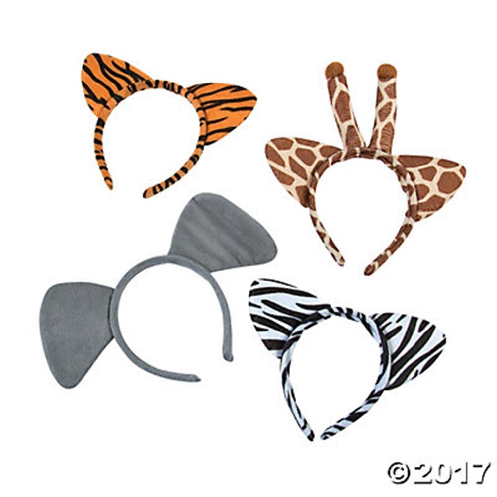Set of 12(3 of each) Plush Zoo Animal Jungle Headbands w Ears Zebra Giraffe Elephant Tiger