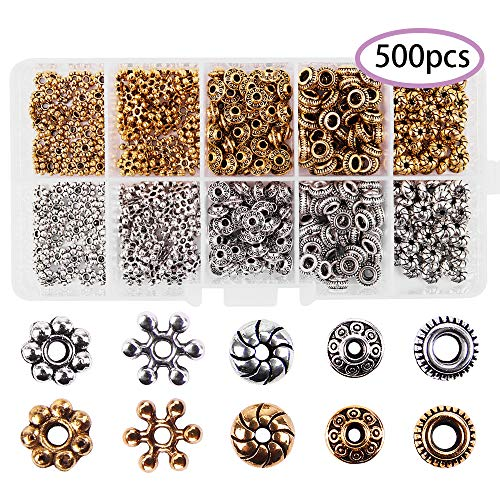 Antique Tibetan Silver Gold Bronze Spacer Beads Box Kit 500pcs Daisy Flower Spacers Assortment Accessories Loose DIY for Bracelet Necklace Jewelry Making (Spacer Beads) -