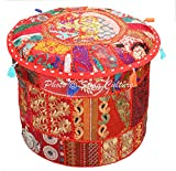 Stylo Culture Bohemian Pouffe Floor Pillow Cover Round Patchwork Embroidered Pouf Ottoman Cover Red Cotton Floral Traditional Furniture Footstool Seat Puff Cover (16x16x13)
